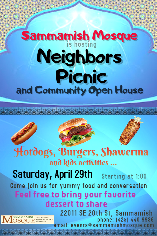 April 29th Neighbors Picnic and Community Open House