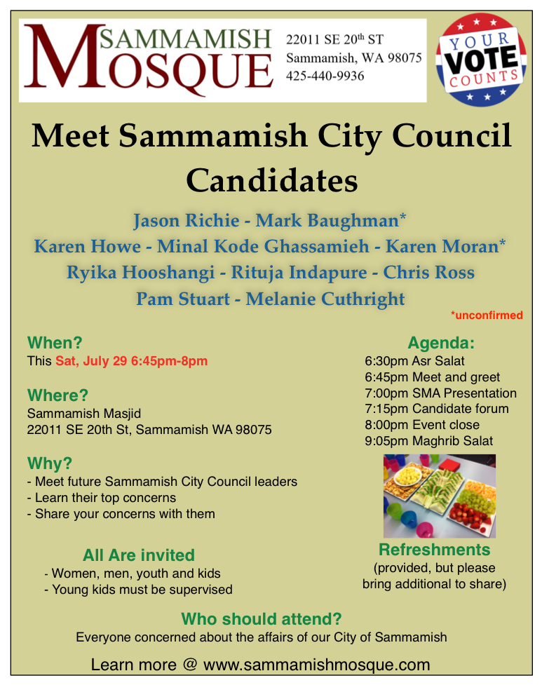 meet sammamish city council candidates on sat july 29th